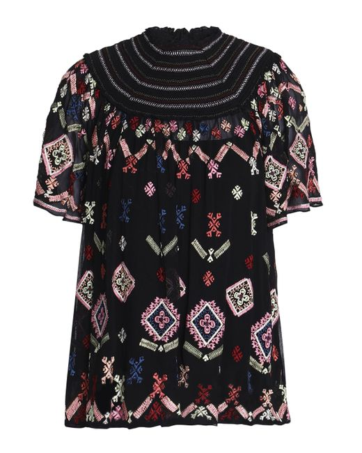 Needle & Thread - Black Smocked Embroidered Crepe De Chine Blouse - Lyst