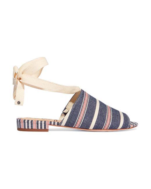 Sam Edelman - Blue Woman Tai Striped Denim Sandals Mid Denim - Lyst