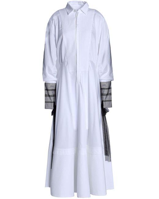 Amanda Wakeley - White Muse Tulle-paneled Cotton-poplin Midi Shirt Dress - Lyst