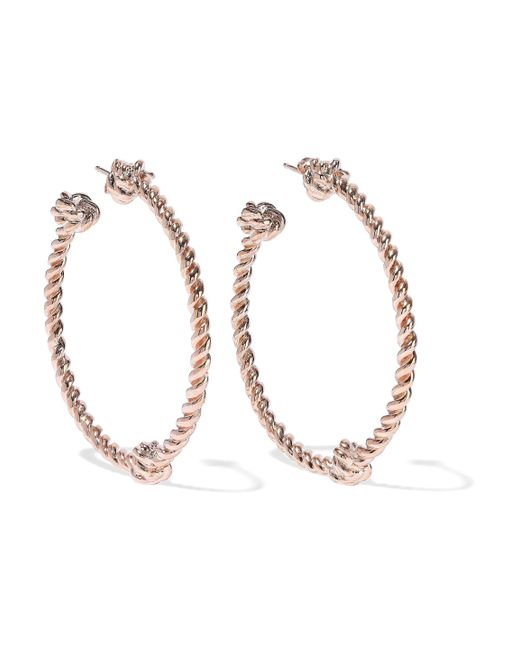 Aurelie Bidermann - Metallic Palazzo Rose Gold-tone Hoop Earrings - Lyst