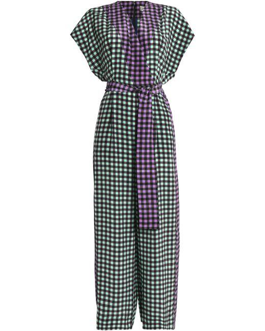 Diane von Furstenberg - Multicolor Wrap-effect Gingham Silk Crepe De Chine Jumpsuit - Lyst