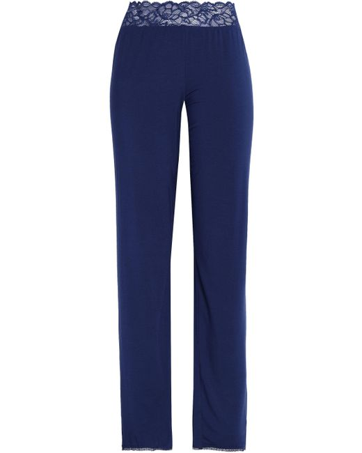 Calvin Klein - Blue Lace-trimmed Jersey Pajama Pants Navy - Lyst