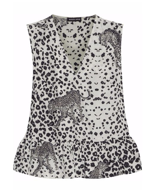 Markus Lupfer - White Flared Leopard Print Tank - Lyst