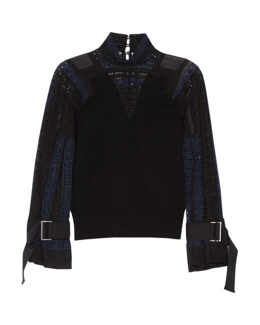 Sacai - Black Wool, Crochet And Chiffon Top - Lyst