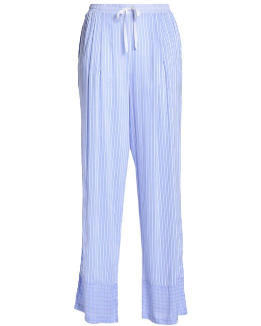 DKNY - Woman Printed Voile Pajama Pants Light Blue Size Xs - Lyst