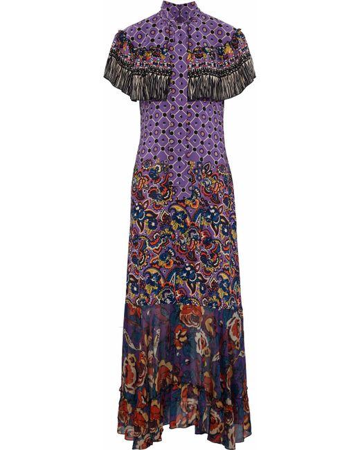 Anna Sui - Purple Cape-effect Printed Silk Crepe De Chine And Chiffon Gown - Lyst
