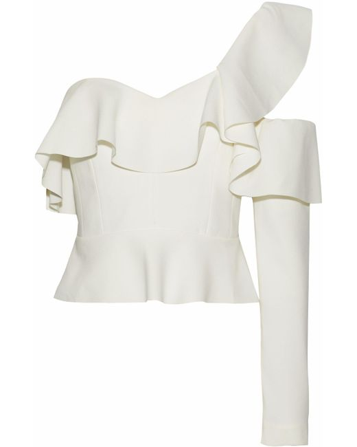 Rachel Gilbert - White One-shoulder Ruffled Cutout Crepe Top - Lyst