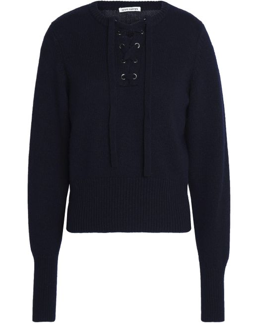 Autumn Cashmere - Blue Lace-up Knitted Sweater - Lyst