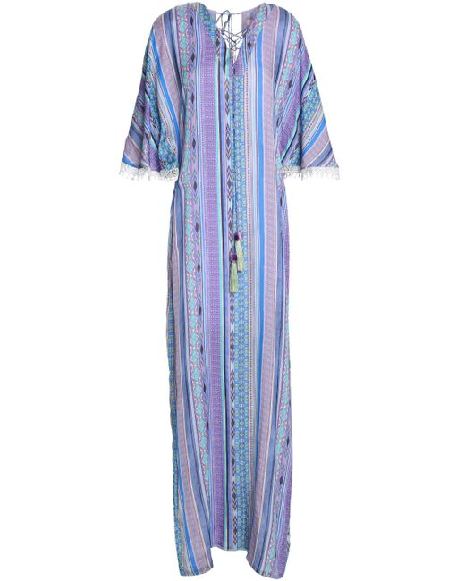 Matthew Williamson - Purple Woman Lace-trimmed Printed Silk Coverup Violet - Lyst