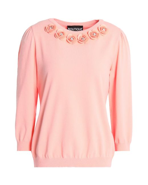 Boutique Moschino - Pink Crystal-embellished Floral-appliquéd Knitted Sweater - Lyst
