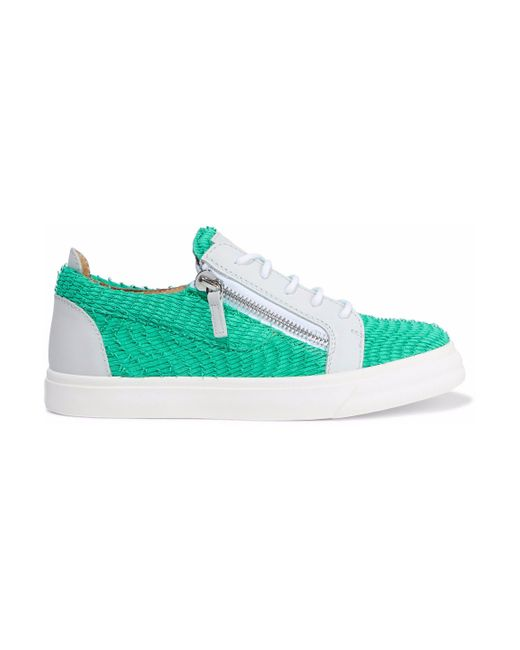Giuseppe Zanotti - Green London Printed Smooth And Snake-effect Leather Sneakers - Lyst