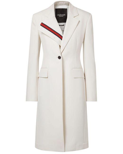CALVIN KLEIN 205W39NYC - White Woman Gabardine Coat Ivory - Lyst