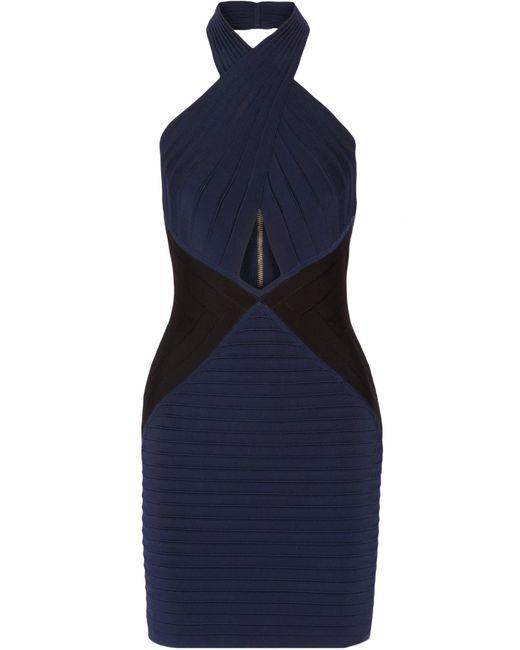 Balmain | Blue Two-tone Stretch-knit Halterneck Mini Dress | Lyst
