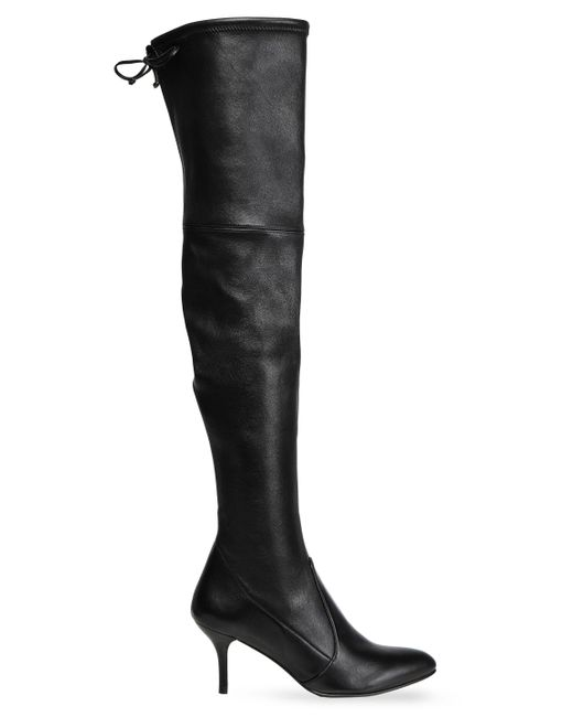Stuart Weitzman - Black Bow-detailed Stretch-leather Over-the-knee Boots - Lyst