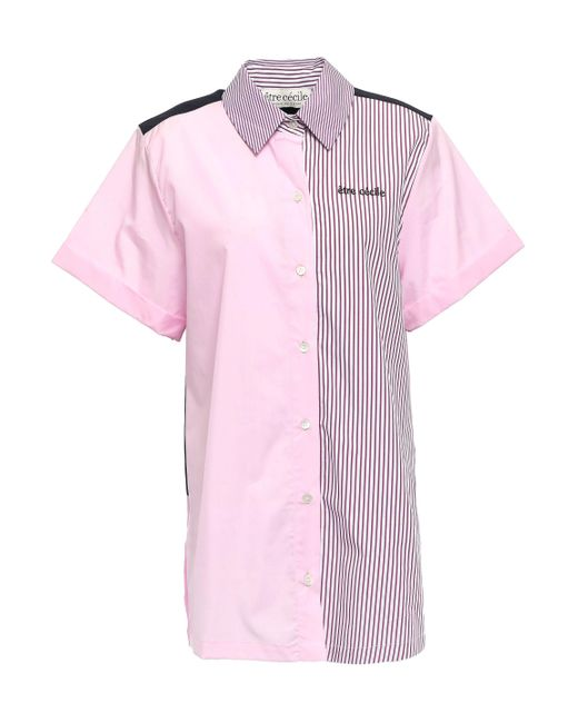 Être Cécile Être Cécile Printed Cotton-poplin Shirt Baby Pink