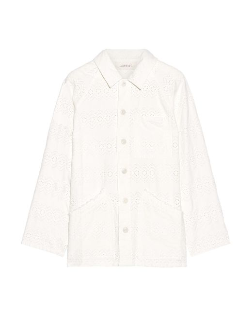 The Great | White Broderie Anglaise Cotton Jacket | Lyst