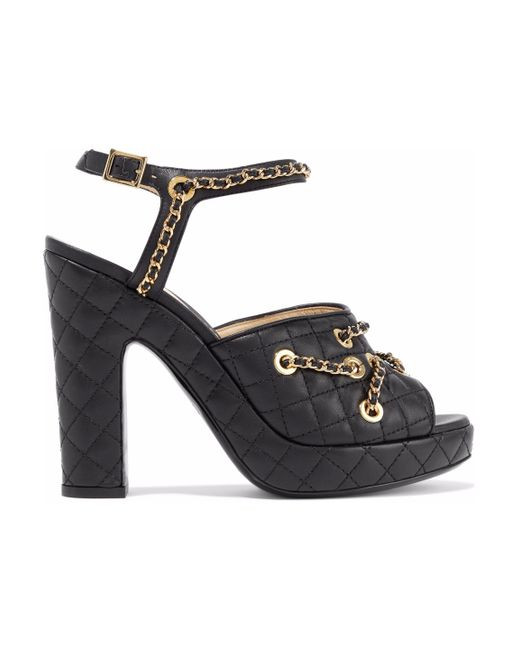 Moschino - Black Chain-embellished Quilted Leather Platform Sandals - Lyst