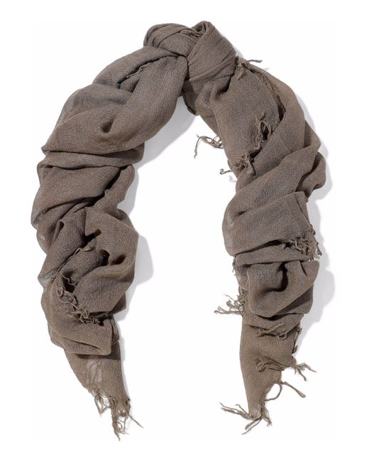 Chan Luu - Gray Fringe-trimmed Cashmere And Silk-blend Gauze Scarf - Lyst