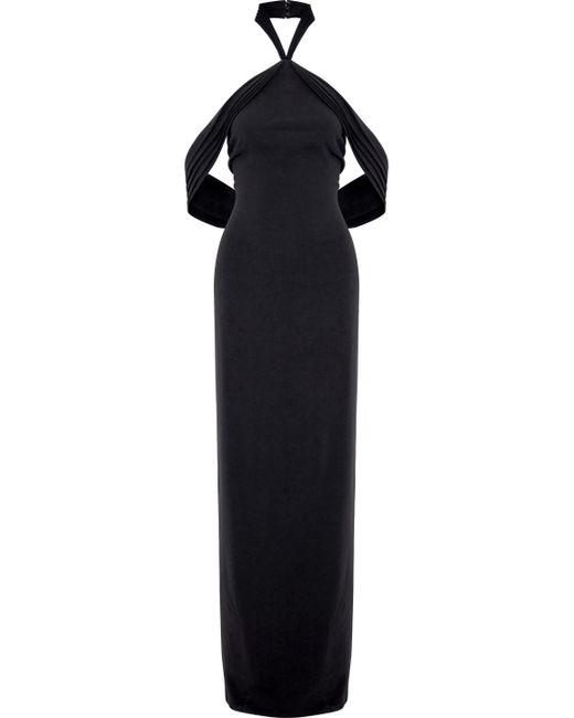 Brandon Maxwell - Black Draped Crepe Halterneck Gown - Lyst
