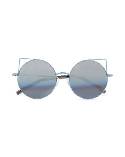 Matthew Williamson - Blue Round-frame Metal Mirrored Sunglasses - Lyst
