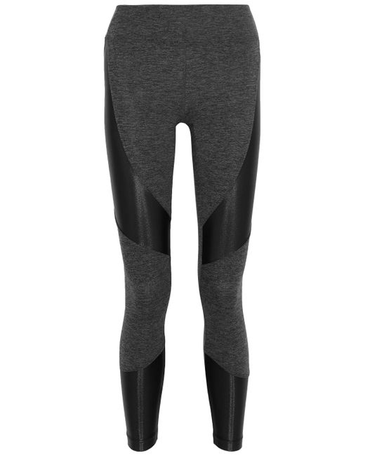 Koral - Black Coated Paneled Mélange Stretch leggings - Lyst