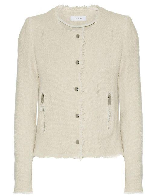IRO - Natural Frayed Cotton-tweed Jacket - Lyst