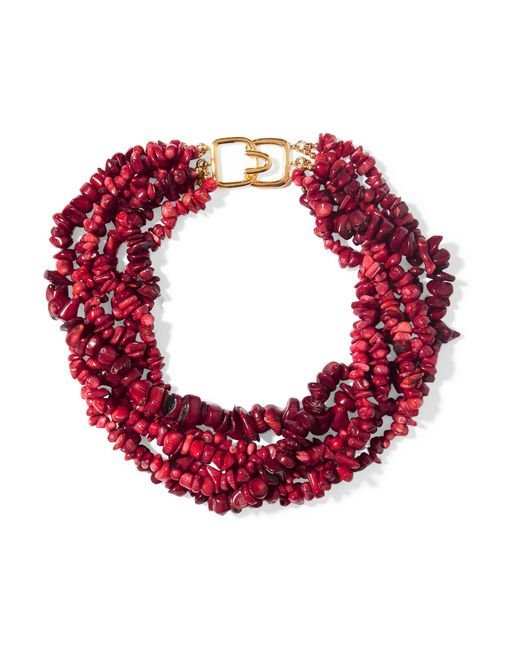 Kenneth Jay Lane   Red Beaded Resin Necklace   Lyst