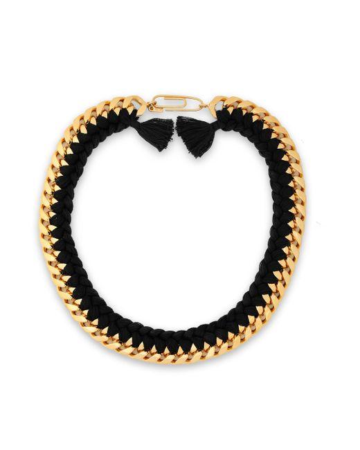 Aurelie Bidermann - Black Brasil Gold-tone Braided Cord Necklace - Lyst