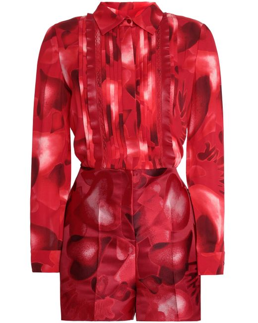 Valentino - Red Point D'esprit-trimmed Printed Silk-crepe And Jacquard Playsuit - Lyst