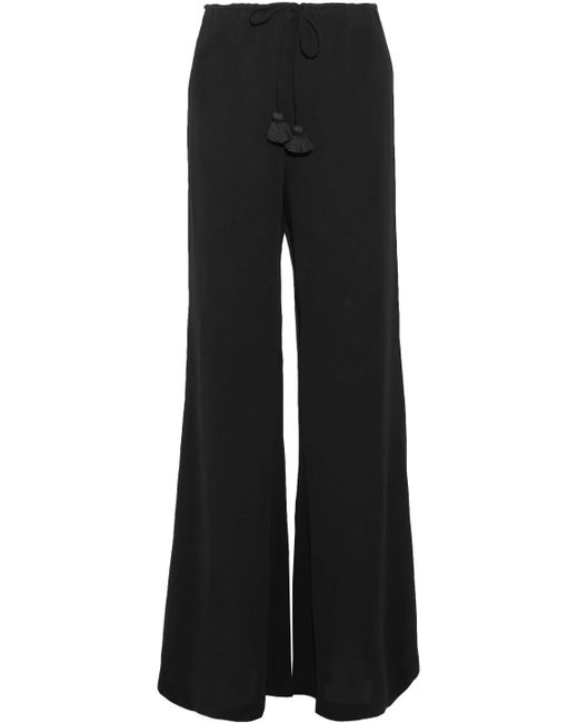 Figue - Black Tasseled Crepe De Chine Wide-leg Pants - Lyst