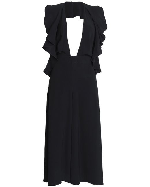 Magda Butrym - Black Cropped Silk-crepe Jumpsuit - Lyst