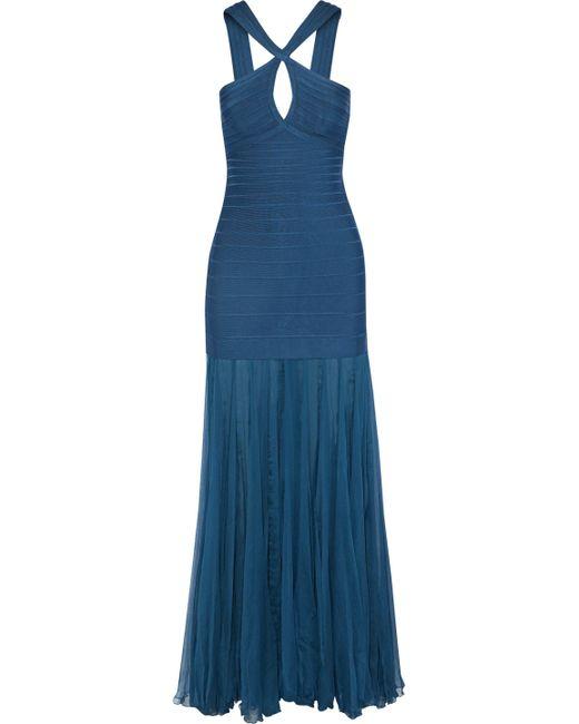 Hervé Léger - Gauze-paneled Cutout Bandage Gown Cobalt Blue - Lyst