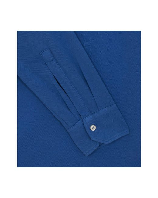 43ac43d92 ... Belsire - Blue Cotton Long-sleeved Polo Shirt for Men - Lyst ...