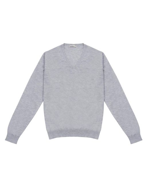 Cifonelli - Gray Grey Cashmere And Silk V-neck Sweater for Men - Lyst