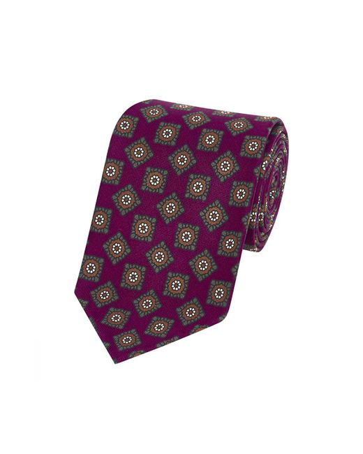 Drake's - Purple Burgundy And Brown Silk Floret Pattern Tie for Men - Lyst