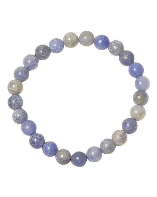 Jan Leslie - Blue Cracked Agate Bead Elasticated Bracelet for Men - Lyst