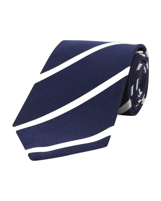 Turnbull & Asser - Blue Navy And White Stripe Repp Silk Tie for Men - Lyst