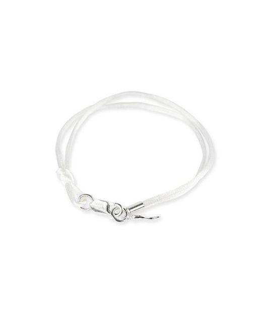 Rubinacci - White And Silver Pendant Silk Bracelet - Lyst