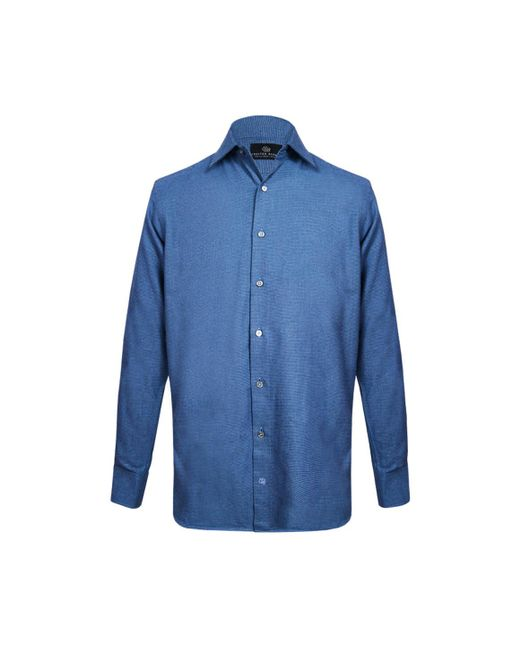 hombre Chevron para franela azul Barrie Chester Camisa Lyst de marino wqfaI8