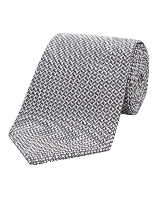 Turnbull & Asser - Gray Grey Houndstooth Silk Tie for Men - Lyst
