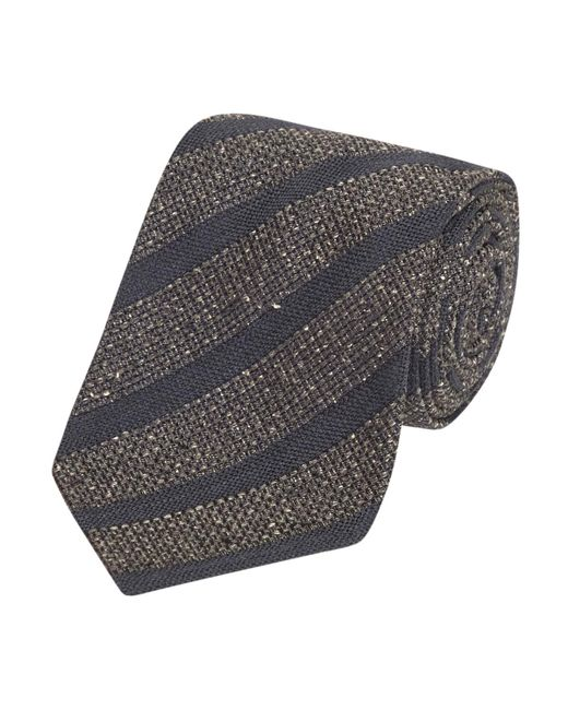 Fumagalli 1891 - Gray Grey And Navy Stripe Malibu Wool And Silk 5-fold Tie for Men - Lyst