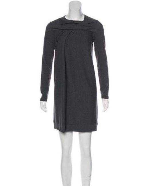 cff4a2b2df3ef Brunello Cucinelli - Gray Long Sleeve Rib Knit Dress - Lyst ...
