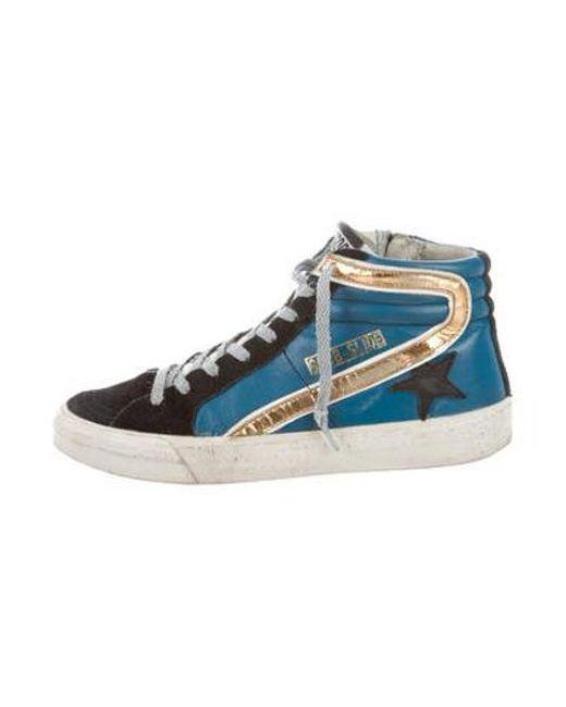 5c144c96747e1 Golden Goose Deluxe Brand - Metallic Leather High-top Sneakers Blue - Lyst  ...