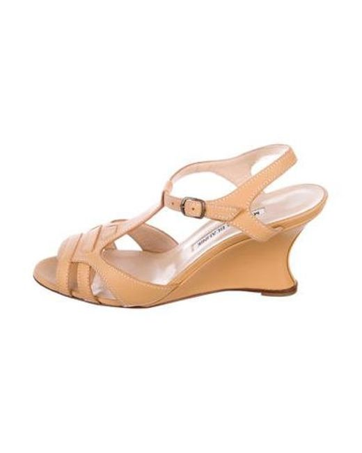 9ce464c7f944 Manolo Blahnik - Natural Leather Cage Wedges Tan - Lyst ...