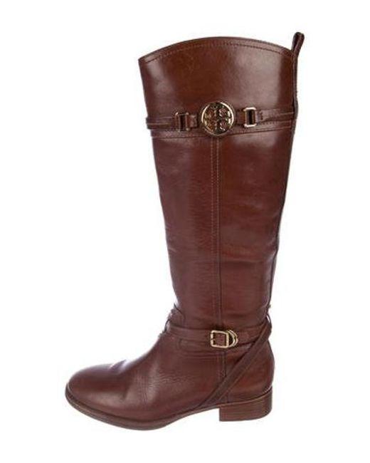 30d6c43f76f9 Tory Burch - Metallic Leather Mid-calf Boots Brown - Lyst ...