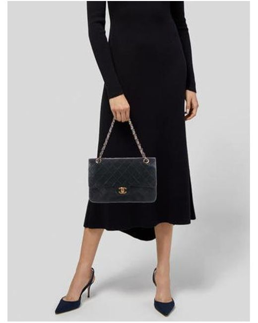 6dbf77f7b89 ... Chanel - Metallic Vintage Medium Classic Double Flap Bag Black - Lyst  ...