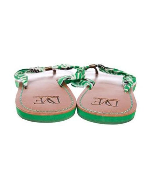 bdf4f94485a32 ... Diane von Furstenberg - Green Printed Thong Sandals - Lyst