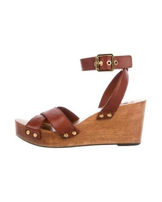 5f98157845a4 Tory Burch - Brown Leather Platform Wedges - Lyst ...