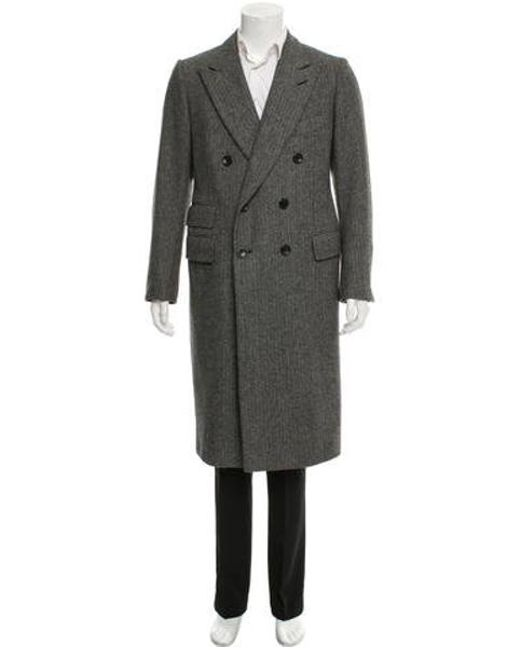 6d084a43f314 Tom Ford - Gray Double-breasted Wool Overcoat Black for Men - Lyst ...