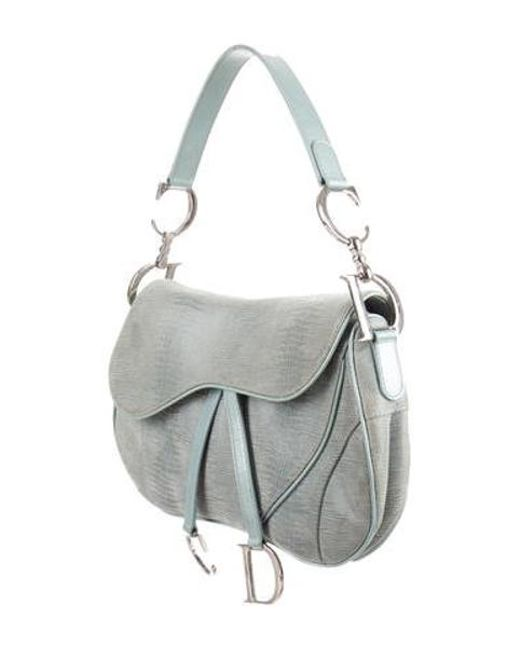 2df239e60056 ... Dior - Metallic Textured Saddle Bag Blue - Lyst ...